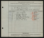 Entry card for Cunningham, William Phelps for the 1930 May Show.