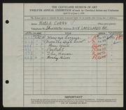 Entry card for Curry, Noble for the 1930 May Show.