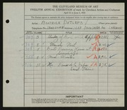 Entry card for Detlefs, Beatrice for the 1930 May Show.