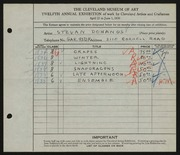 Entry card for Dohanos, Stevan for the 1930 May Show.