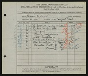 Entry card for Dunn, Louise Morrison for the 1930 May Show.