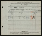 Entry card for Duval, Albert D. for the 1930 May Show.