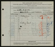 Entry card for Dyer, Nora E. for the 1930 May Show.