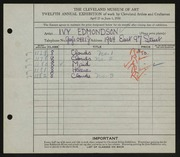 Entry card for Edmondson, Ivy Jane for the 1930 May Show.