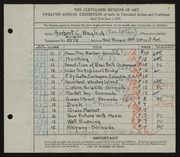 Entry card for English, Herbert C. for the 1930 May Show.