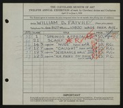 Entry card for Faivre, William D. for the 1930 May Show.