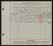Entry card for Flory, Julia McCune for the 1930 May Show.