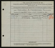 Entry card for Fredericks, Marshall Maynard for the 1930 May Show.