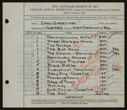 Entry card for Gaertner, Carl Frederick for the 1930 May Show.