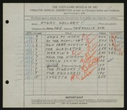 Entry card for Gellert, Emery for the 1930 May Show.