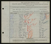 Entry card for Gisch, William S. for the 1930 May Show.