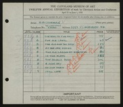 Entry card for Goodman, A. H. for the 1930 May Show.