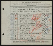 Entry card for Grauer, William C. for the 1930 May Show.
