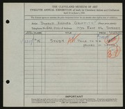 Entry card for Griffith, Donald Irving for the 1930 May Show.
