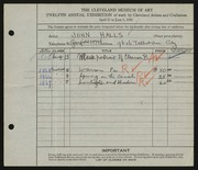 Entry card for Halls, John for the 1930 May Show.