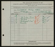 Entry card for Hart, Eleanor Hotz for the 1930 May Show.