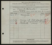 Entry card for Hellmuth, Charles A. for the 1930 May Show.