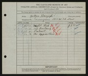 Entry card for Herczegh, Zoltan for the 1930 May Show.