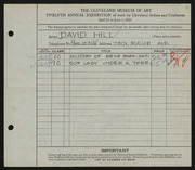 Entry card for Hill, David Wyers for the 1930 May Show.