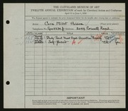 Entry card for Holden, Cora for the 1930 May Show.