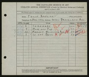 Entry card for Kaplan, Philip for the 1930 May Show.