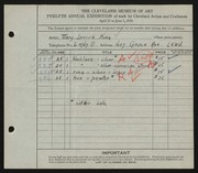 Entry card for King, Mary Louise for the 1930 May Show.