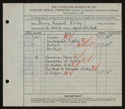 Entry card for Kirby, Henry Howard for the 1930 May Show.