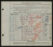 Entry card for Kubinyi, Kalman for the 1930 May Show.