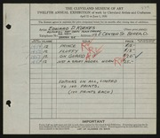 Entry card for Kuekes, Edward D. for the 1930 May Show.
