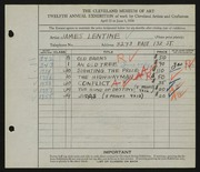 Entry card for Lentine, James for the 1930 May Show.