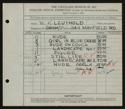 Entry card for Leuthold, W. K. for the 1930 May Show.
