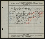 Entry card for Lupton, Dr. John C. for the 1930 May Show.