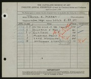 Entry card for Mabry, Frank E. for the 1930 May Show.