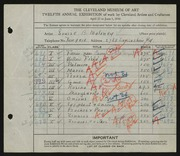 Entry card for Maloney, Louise Burdette for the 1930 May Show.