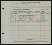 Entry card for Marker, Thomas for the 1930 May Show.