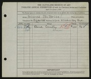 Entry card for McBride, Mildred for the 1930 May Show.