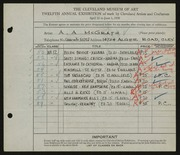 Entry card for McGrath, Anthony for the 1930 May Show.