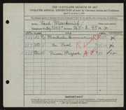 Entry card for Merckenich, Paul for the 1930 May Show.
