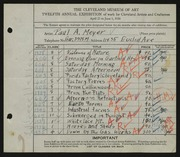 Entry card for Meyer, Paul A. for the 1930 May Show.