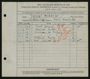Entry card for Mihalik, Julius for the 1930 May Show.