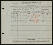 Entry card for Miller, John Edward for the 1930 May Show.