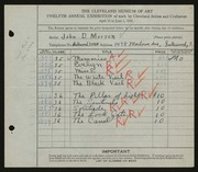 Entry card for Morron, John D. for the 1930 May Show.