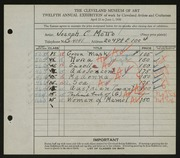 Entry card for Motto, Joseph C. for the 1930 May Show.