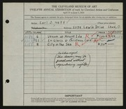 Entry card for Neff, Earl J. for the 1930 May Show.