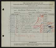 Entry card for Paliwoda, Ambrozi for the 1930 May Show.