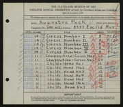 Entry card for Peck, Augustus for the 1930 May Show.