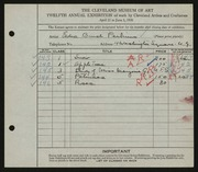 Entry card for Perkins, Edna Brush for the 1930 May Show.