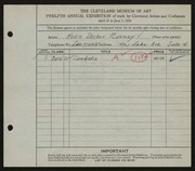 Entry card for Ranney, Helen Stecher for the 1930 May Show.