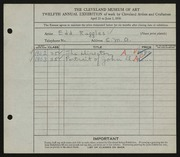 Entry card for Ruggles, E. A. (Edd Alvah) for the 1930 May Show.