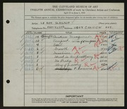 Entry card for Schrauf, Leroy J. for the 1930 May Show.